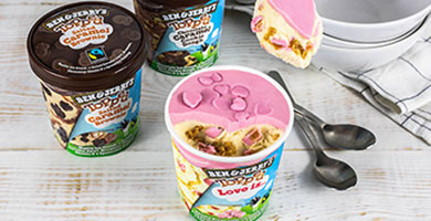Three tubs of Ben & Jerry's Topped Ice Cream